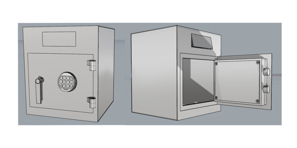 Caja fuerte metálica con buzón en el marco.